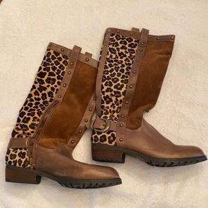 Steve Madden leather and cheetah print boots